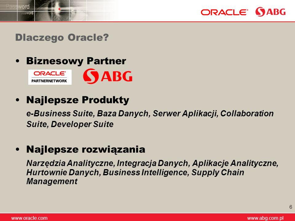 Dlaczego Oracle Biznesowy Partner. Najlepsze Produkty. e-Business Suite, Baza Danych, Serwer Aplikacji, Collaboration Suite, Developer Suite.