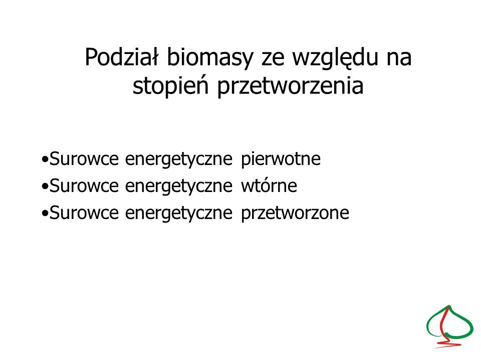 Podział biomasy ze względu na stopień przetworzenia
