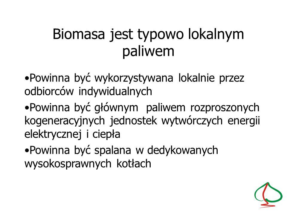 Biomasa jest typowo lokalnym paliwem