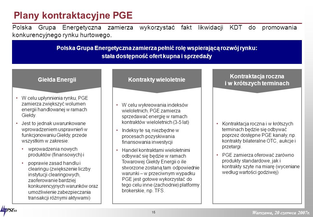 Plany kontraktacyjne PGE