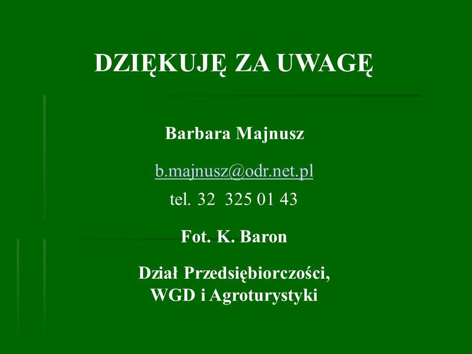 Dział Przedsiębiorczości, WGD i Agroturystyki