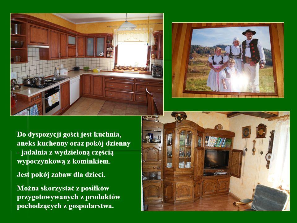 Do dyspozycji gości jest kuchnia, aneks kuchenny oraz pokój dzienny - jadalnia z wydzieloną częścią wypoczynkową z kominkiem.