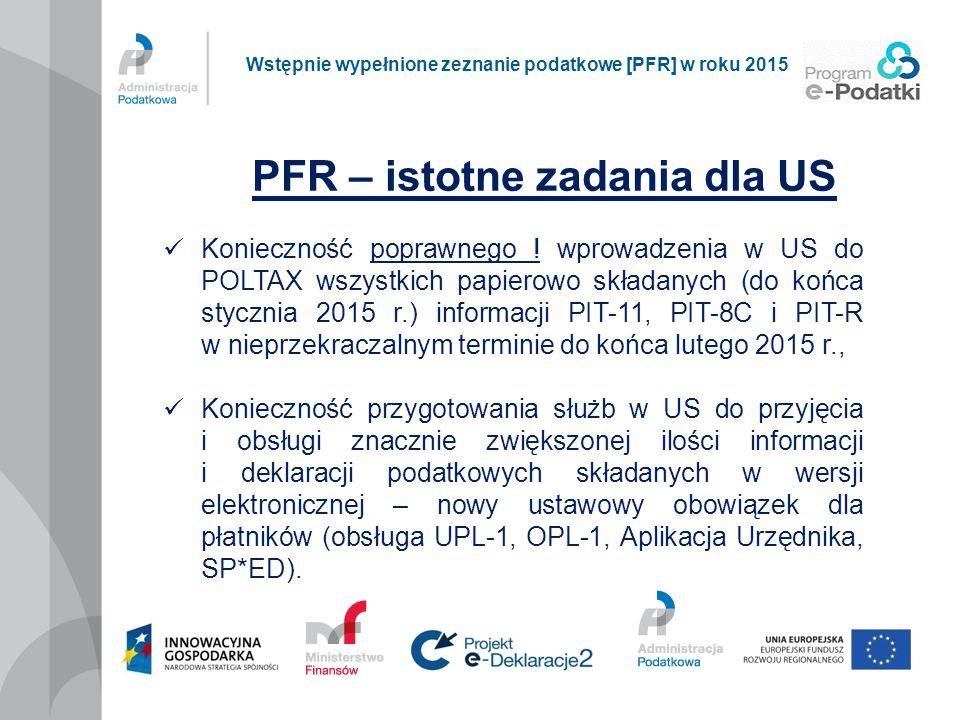 PFR – istotne zadania dla US