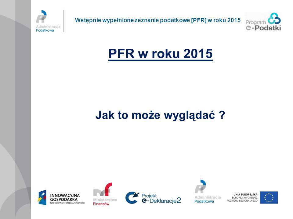 PFR w roku 2015 Jak to może wyglądać