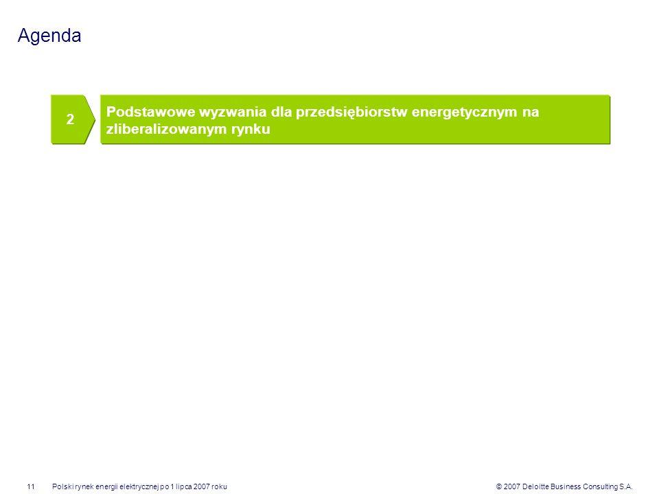 Agenda 2. Podstawowe wyzwania dla przedsiębiorstw energetycznym na zliberalizowanym rynku.