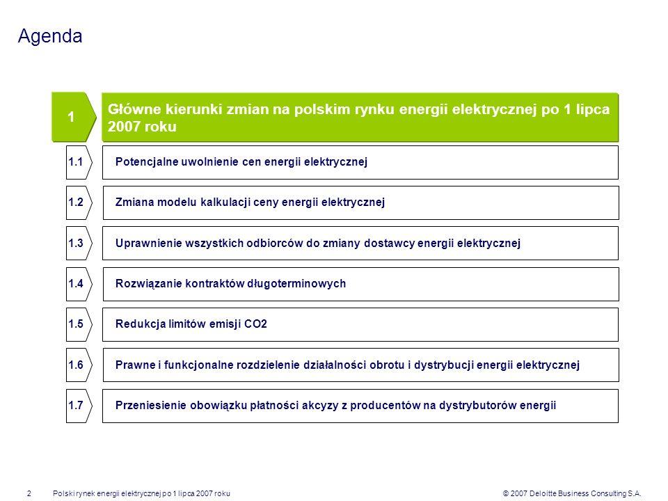 Agenda 1. Główne kierunki zmian na polskim rynku energii elektrycznej po 1 lipca 2007 roku. 1.1. Potencjalne uwolnienie cen energii elektrycznej.