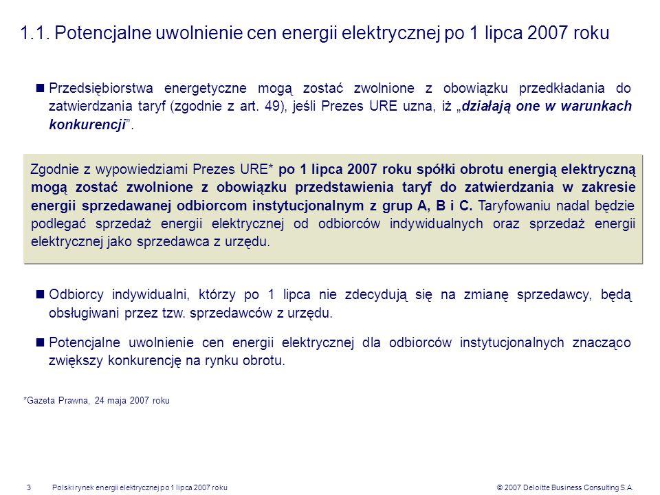 1.1. Potencjalne uwolnienie cen energii elektrycznej po 1 lipca 2007 roku
