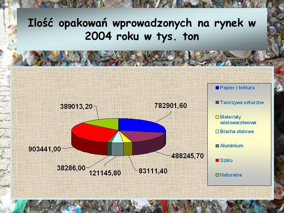 Ilość opakowań wprowadzonych na rynek w 2004 roku w tys. ton