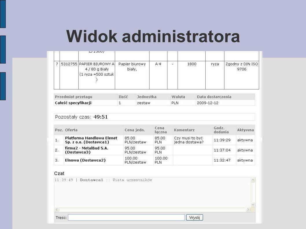 Widok administratora