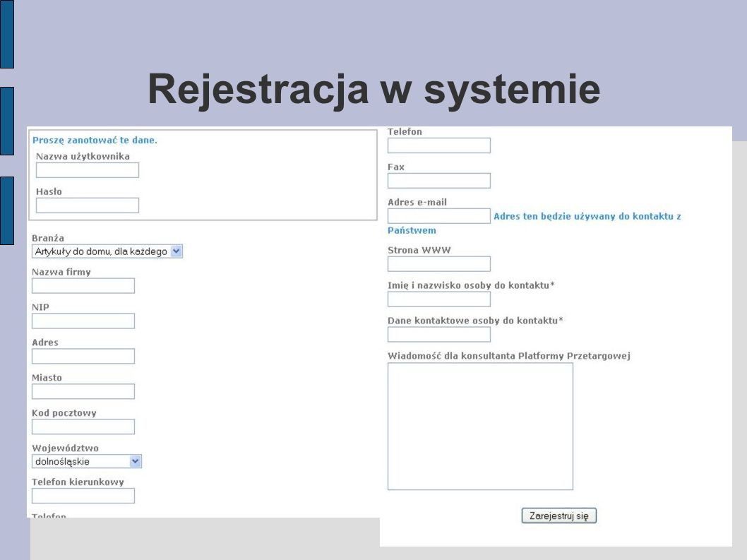 Rejestracja w systemie
