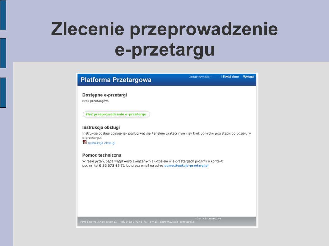 Zlecenie przeprowadzenie e-przetargu