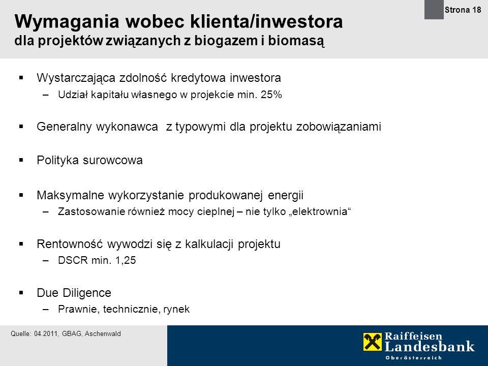 Wymagania wobec klienta/inwestora dla projektów związanych z biogazem i biomasą