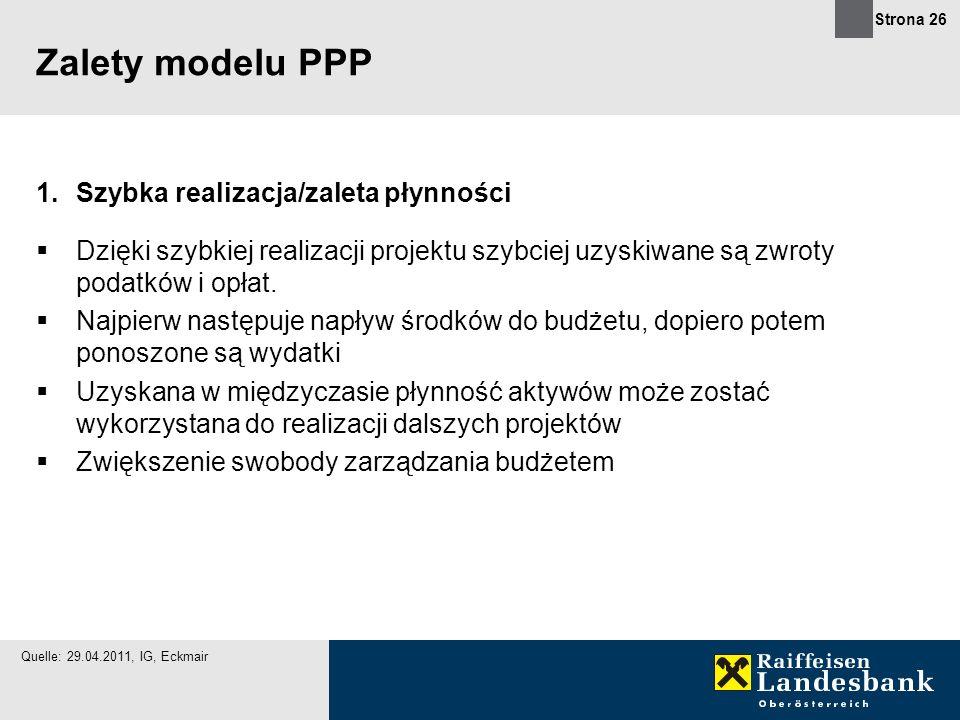 Zalety modelu PPP Szybka realizacja/zaleta płynności