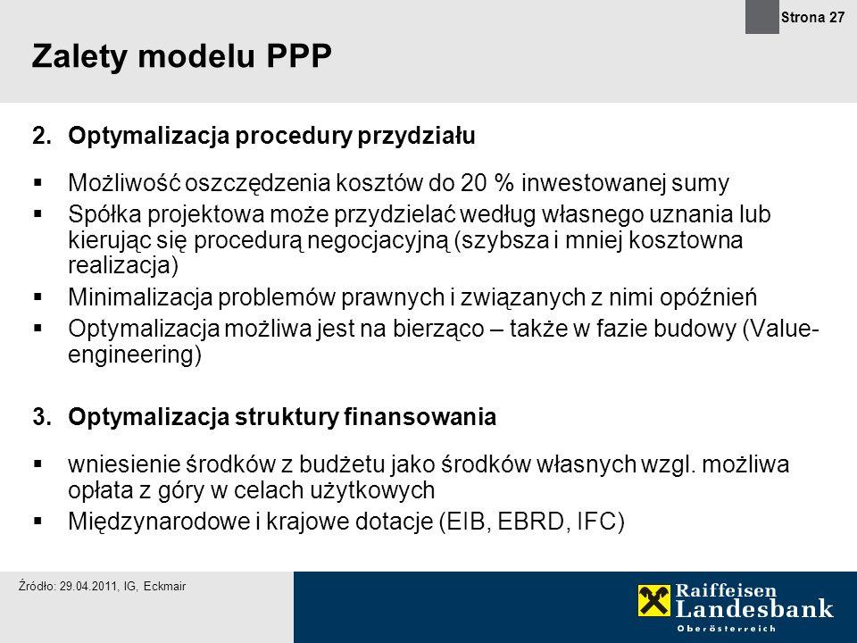 Zalety modelu PPP Optymalizacja procedury przydziału