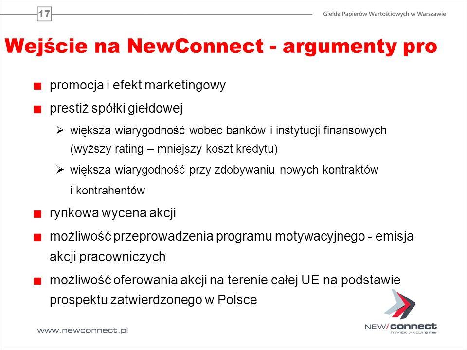 Wejście na NewConnect - argumenty pro