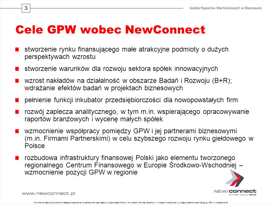 Cele GPW wobec NewConnect