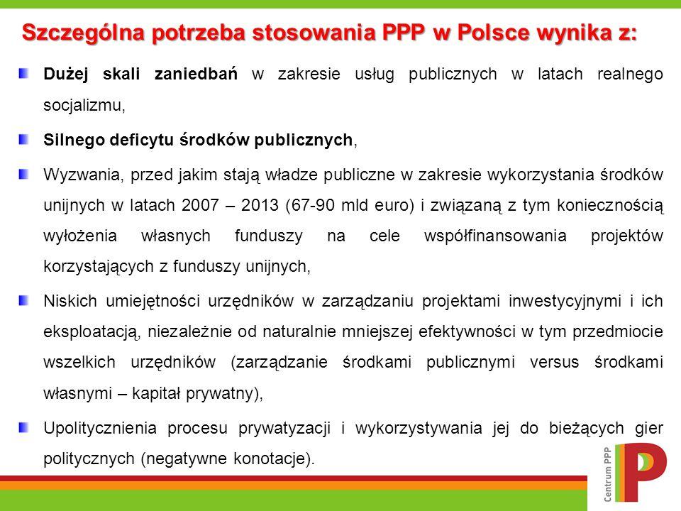 Szczególna potrzeba stosowania PPP w Polsce wynika z: