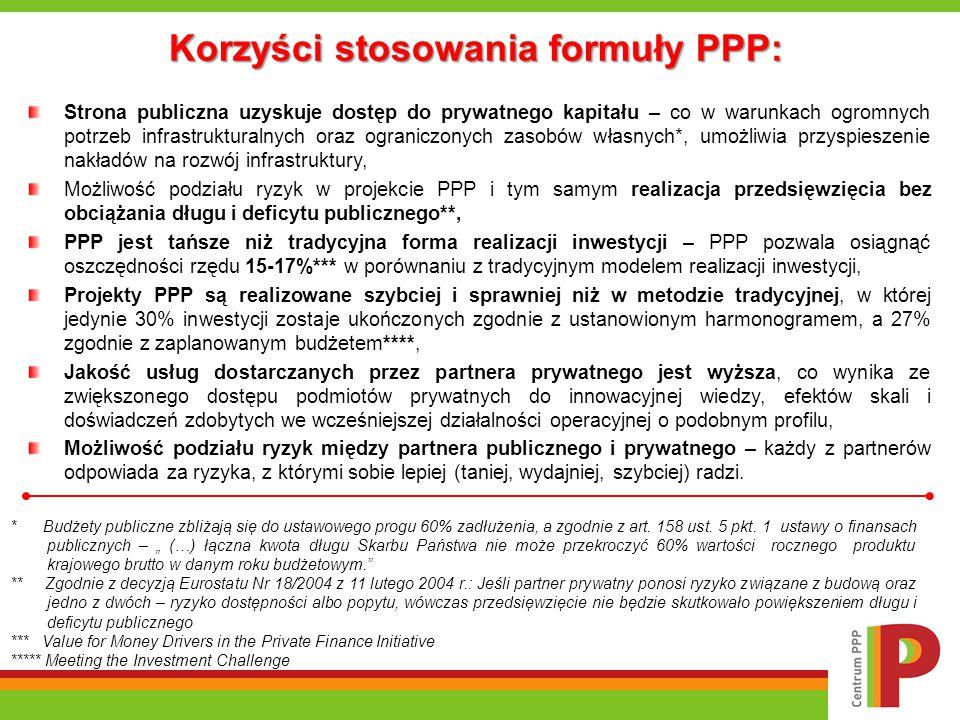 Korzyści stosowania formuły PPP: