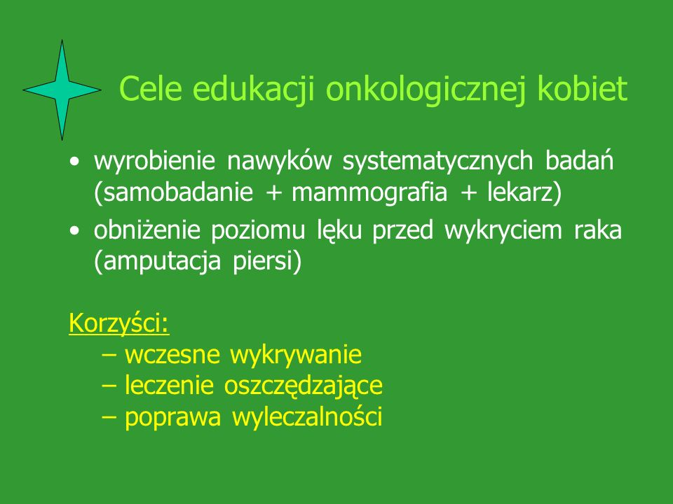Cele edukacji onkologicznej kobiet