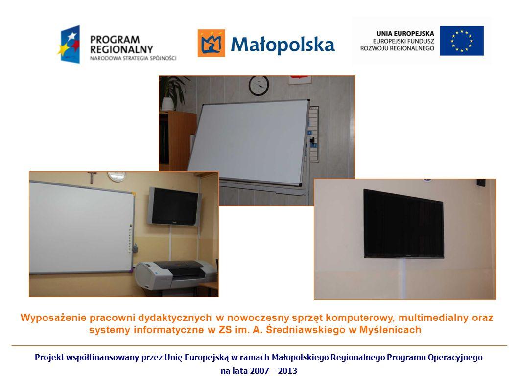 Wyposażenie pracowni dydaktycznych w nowoczesny sprzęt komputerowy, multimedialny oraz systemy informatyczne w ZS im. A. Średniawskiego w Myślenicach