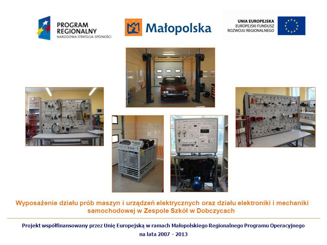 Wyposażenie działu prób maszyn i urządzeń elektrycznych oraz działu elektroniki i mechaniki samochodowej w Zespole Szkół w Dobczycach