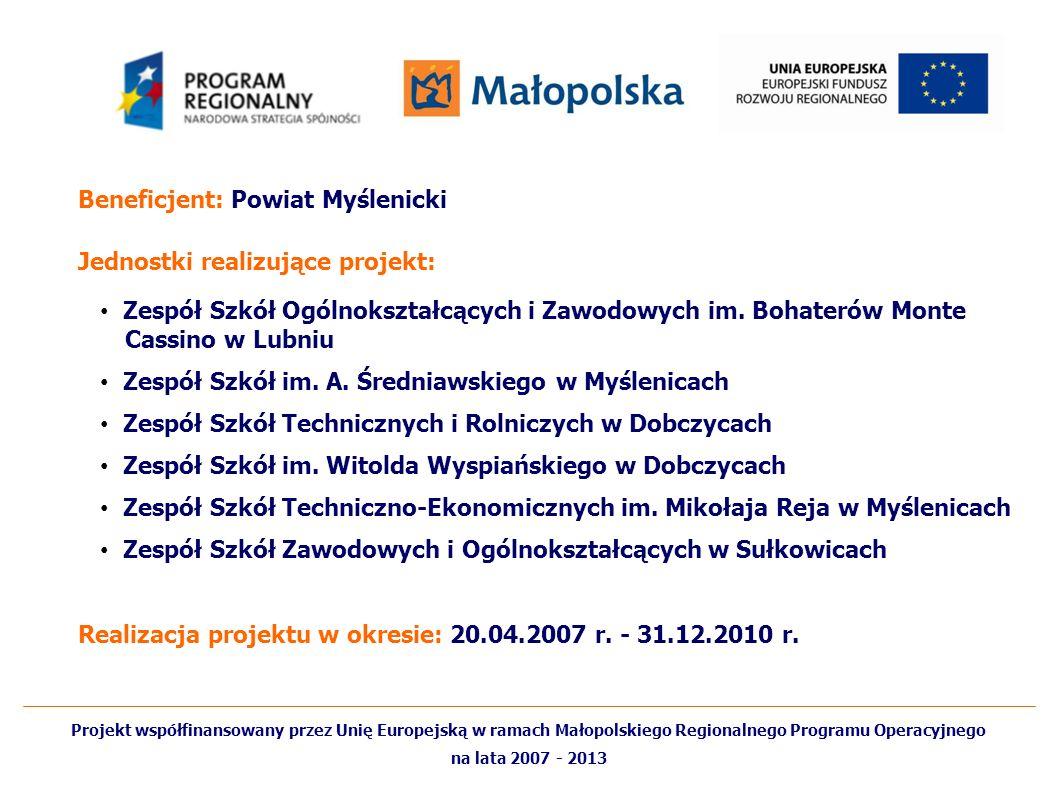Beneficjent: Powiat Myślenicki Jednostki realizujące projekt: