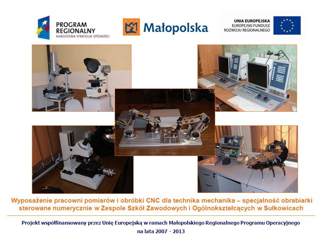 Wyposażenie pracowni pomiarów i obróbki CNC dla technika mechanika – specjalność obrabiarki sterowane numerycznie w Zespole Szkół Zawodowych i Ogólnokształcących w Sułkowicach