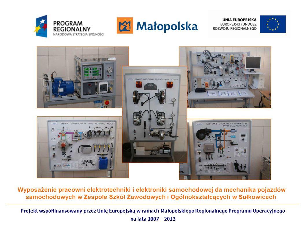 Wyposażenie pracowni elektrotechniki i elektroniki samochodowej da mechanika pojazdów samochodowych w Zespole Szkół Zawodowych i Ogólnokształcących w Sułkowicach