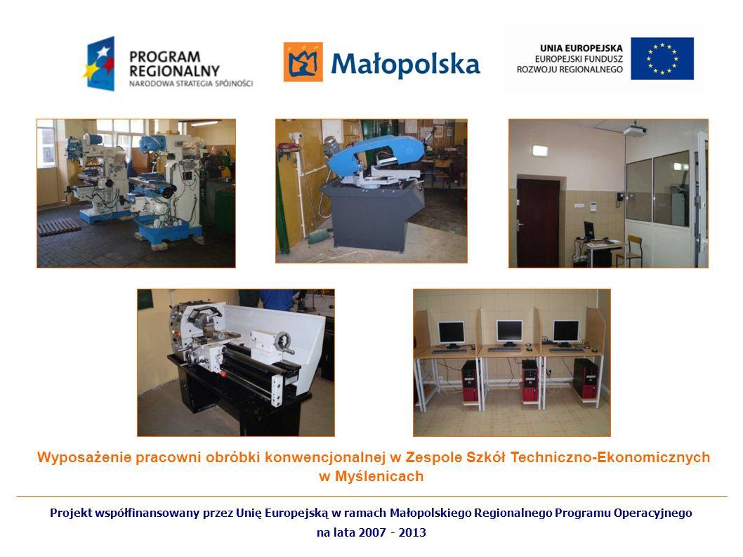 Wyposażenie pracowni obróbki konwencjonalnej w Zespole Szkół Techniczno-Ekonomicznych w Myślenicach
