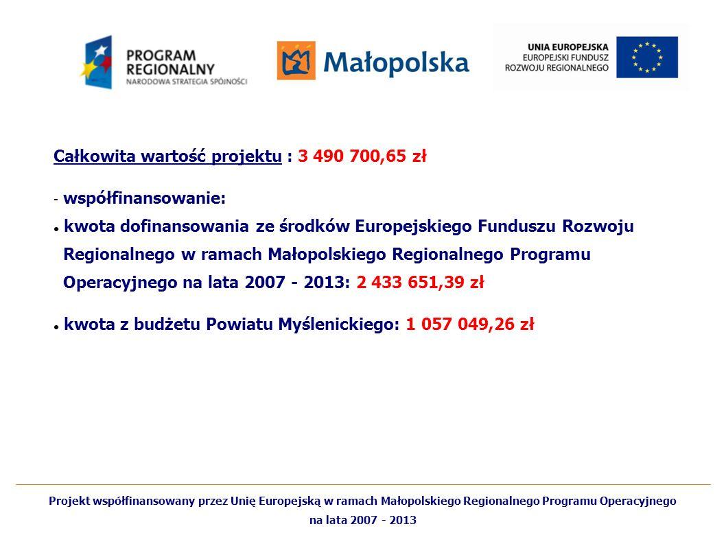 Całkowita wartość projektu : 3 490 700,65 zł współfinansowanie: