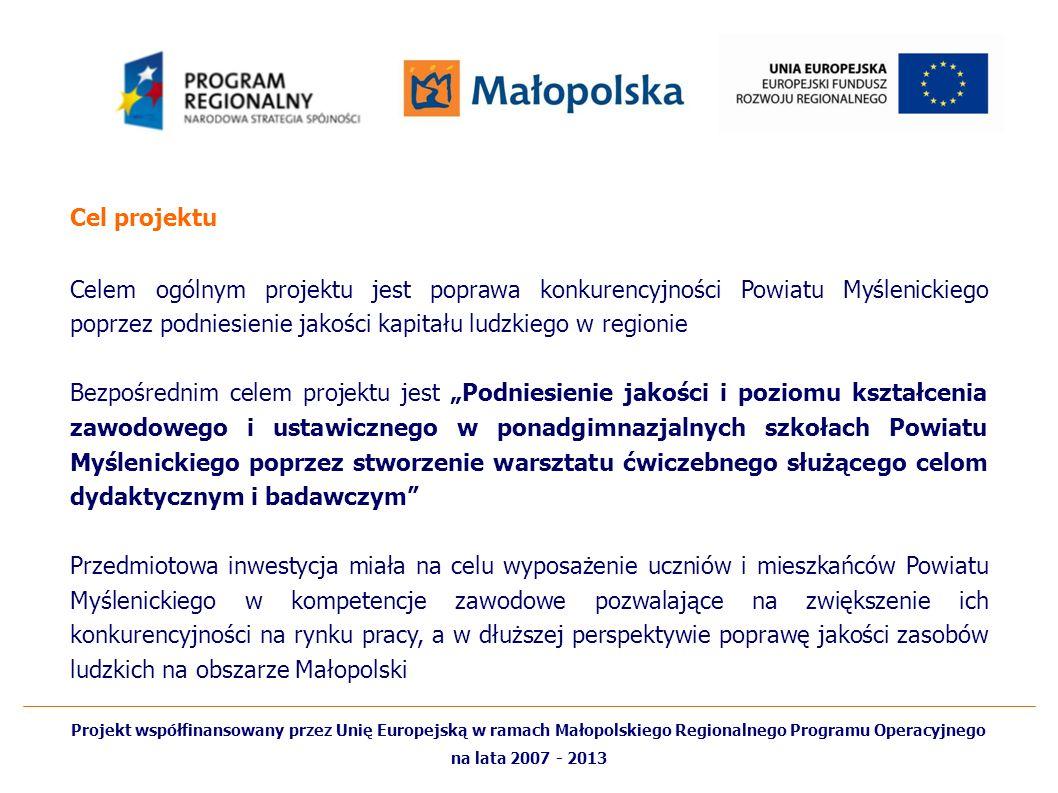 Cel projektu Celem ogólnym projektu jest poprawa konkurencyjności Powiatu Myślenickiego poprzez podniesienie jakości kapitału ludzkiego w regionie.