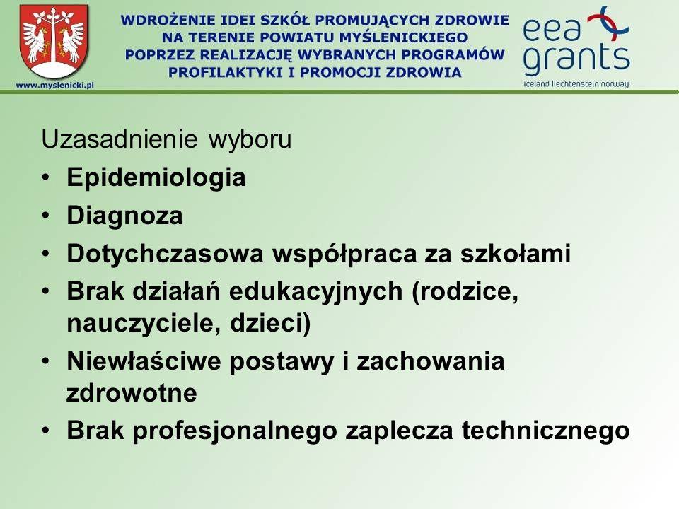 Uzasadnienie wyboru Epidemiologia. Diagnoza. Dotychczasowa współpraca za szkołami. Brak działań edukacyjnych (rodzice, nauczyciele, dzieci)