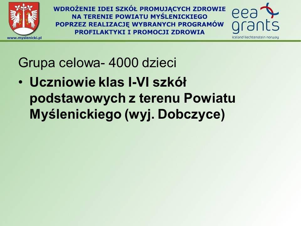 Grupa celowa- 4000 dzieci Uczniowie klas I-VI szkół podstawowych z terenu Powiatu Myślenickiego (wyj.