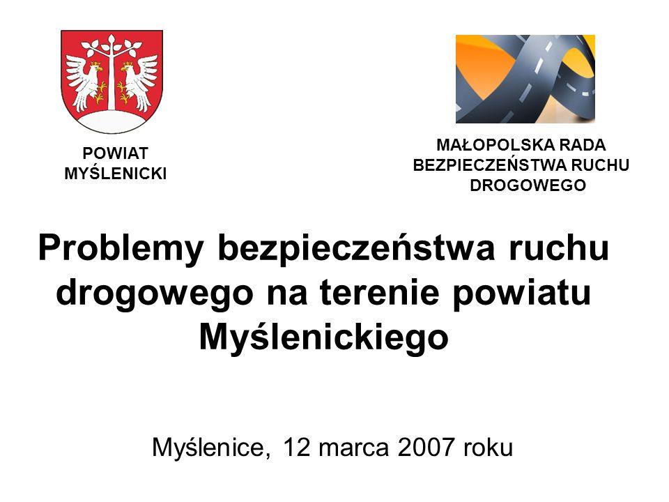 MAŁOPOLSKA RADA BEZPIECZEŃSTWA RUCHU. DROGOWEGO. POWIAT MYŚLENICKI. Problemy bezpieczeństwa ruchu drogowego na terenie powiatu Myślenickiego.