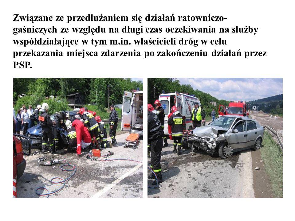 Związane ze przedłużaniem się działań ratowniczo-gaśniczych ze względu na długi czas oczekiwania na służby współdziałające w tym m.in.