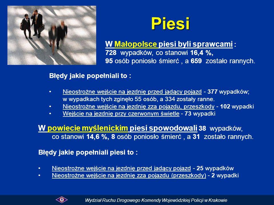Piesi W Małopolsce piesi byli sprawcami :