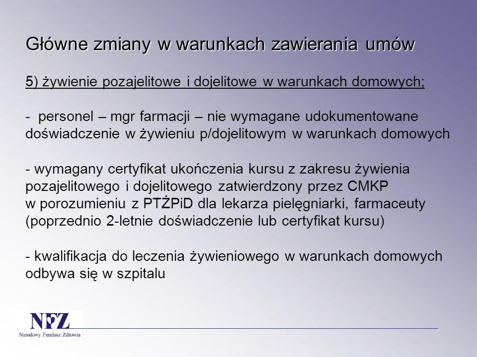 Główne zmiany w warunkach zawierania umów 5) żywienie pozajelitowe i dojelitowe w warunkach domowych; - personel – mgr farmacji – nie wymagane udokumentowane doświadczenie w żywieniu p/dojelitowym w warunkach domowych - wymagany certyfikat ukończenia kursu z zakresu żywienia pozajelitowego i dojelitowego zatwierdzony przez CMKP w porozumieniu z PTŻPiD dla lekarza pielęgniarki, farmaceuty (poprzednio 2-letnie doświadczenie lub certyfikat kursu) - kwalifikacja do leczenia żywieniowego w warunkach domowych odbywa się w szpitalu