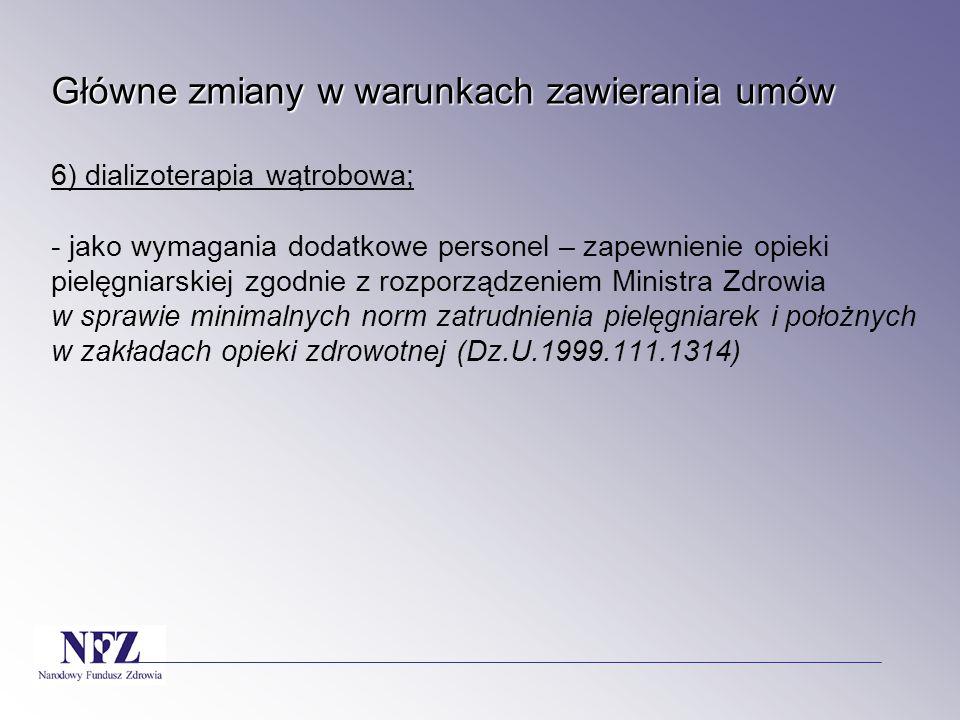 Główne zmiany w warunkach zawierania umów 6) dializoterapia wątrobowa; - jako wymagania dodatkowe personel – zapewnienie opieki pielęgniarskiej zgodnie z rozporządzeniem Ministra Zdrowia w sprawie minimalnych norm zatrudnienia pielęgniarek i położnych w zakładach opieki zdrowotnej (Dz.U.1999.111.1314)