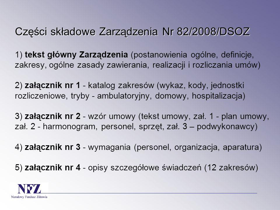 Części składowe Zarządzenia Nr 82/2008/DSOZ 1) tekst główny Zarządzenia (postanowienia ogólne, definicje, zakresy, ogólne zasady zawierania, realizacji i rozliczania umów) 2) załącznik nr 1 - katalog zakresów (wykaz, kody, jednostki rozliczeniowe, tryby - ambulatoryjny, domowy, hospitalizacja) 3) załącznik nr 2 - wzór umowy (tekst umowy, zał.