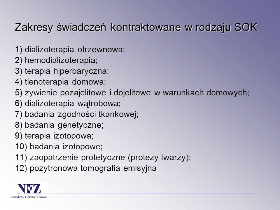 Zakresy świadczeń kontraktowane w rodzaju SOK 1) dializoterapia otrzewnowa; 2) hemodializoterapia; 3) terapia hiperbaryczna; 4) tlenoterapia domowa; 5) żywienie pozajelitowe i dojelitowe w warunkach domowych; 6) dializoterapia wątrobowa; 7) badania zgodności tkankowej; 8) badania genetyczne; 9) terapia izotopowa; 10) badania izotopowe; 11) zaopatrzenie protetyczne (protezy twarzy); 12) pozytronowa tomografia emisyjna