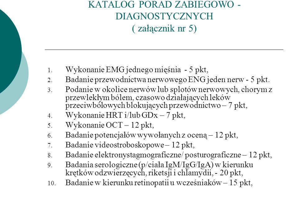 KATALOG PORAD ZABIEGOWO -DIAGNOSTYCZNYCH ( załącznik nr 5)