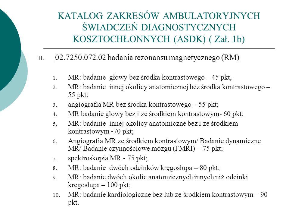 KATALOG ZAKRESÓW AMBULATORYJNYCH ŚWIADCZEŃ DIAGNOSTYCZNYCH KOSZTOCHŁONNYCH (ASDK) ( Zał. 1b)