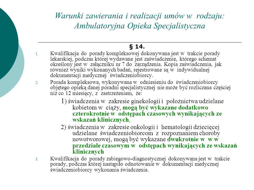 Warunki zawierania i realizacji umów w rodzaju: Ambulatoryjna Opieka Specjalistyczna