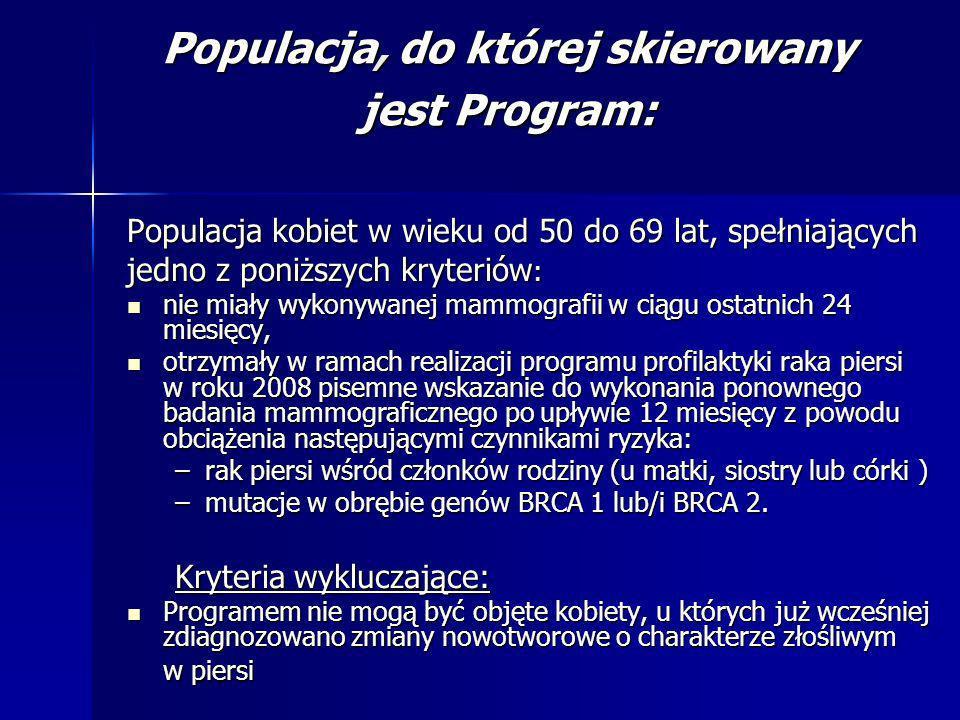 Populacja, do której skierowany jest Program: