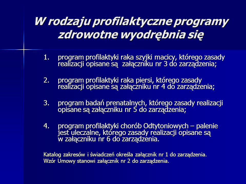 W rodzaju profilaktyczne programy zdrowotne wyodrębnia się