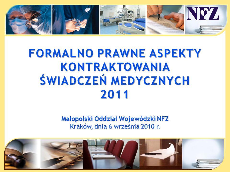 FORMALNO PRAWNE ASPEKTY Małopolski Oddział Wojewódzki NFZ