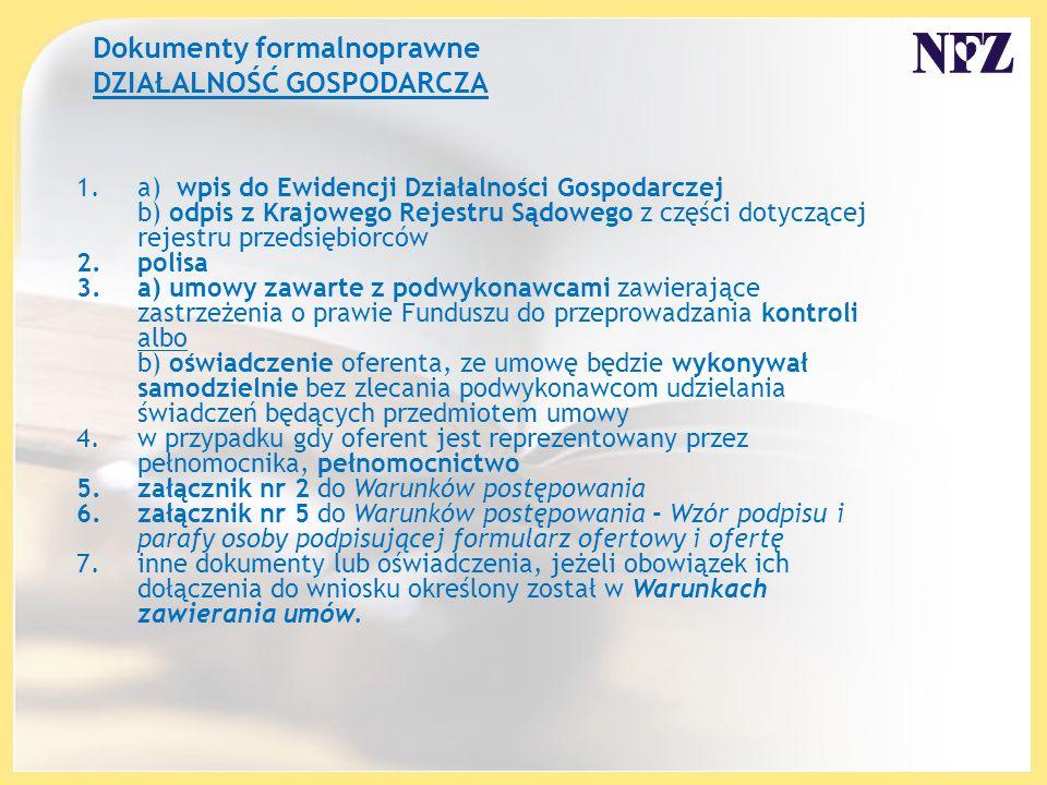 Dokumenty formalnoprawne DZIAŁALNOŚĆ GOSPODARCZA