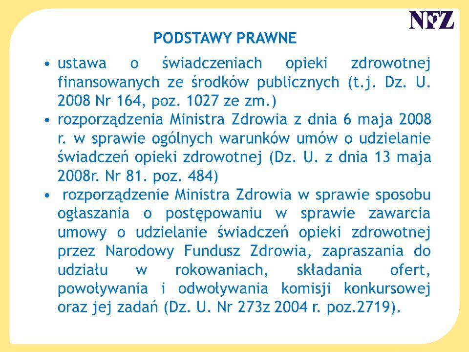 PODSTAWY PRAWNE ustawa o świadczeniach opieki zdrowotnej finansowanych ze środków publicznych (t.j. Dz. U. 2008 Nr 164, poz. 1027 ze zm.)