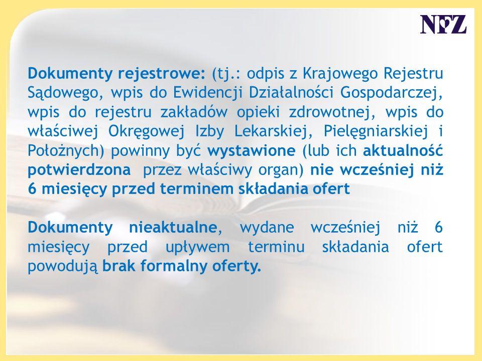 Dokumenty rejestrowe: (tj