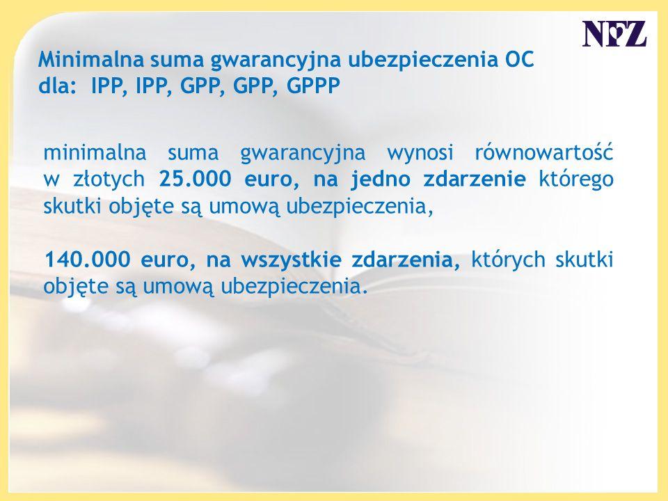 Minimalna suma gwarancyjna ubezpieczenia OC dla: IPP, IPP, GPP, GPP, GPPP